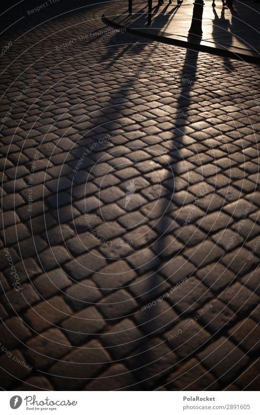 #A# Gassenlicht Kunst ästhetisch Schatten Schattenspiel Schattenseite Dresden Straße Boden anonym Farbfoto Gedeckte Farben Außenaufnahme Detailaufnahme