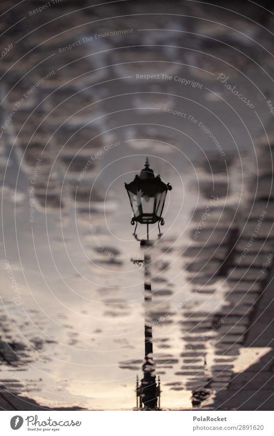 #A# when sun goes down Kunst ästhetisch Laterne Straßenbeleuchtung Lampion Laternenpfahl Dresden Sachsen Reflexion & Spiegelung Pfütze Farbfoto Gedeckte Farben