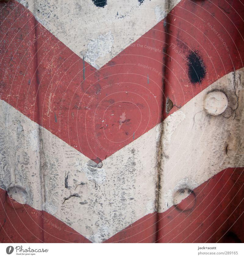 Warnstreifen im Quadrat Stahl Rost Verkehrszeichen Streifen Zahn der Zeit Hinweisschild authentisch dreckig einfach retro rot weiß Sicherheit Ordnung Niete Lack