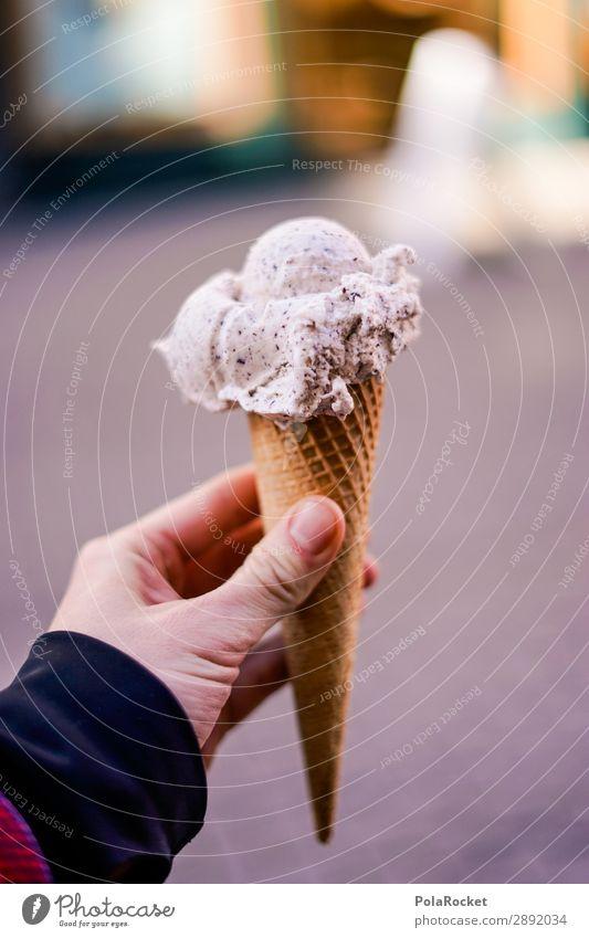 #S# Eis II Speiseeis Glück Sommer Eisdiele genießen Kindheit Waffel stoppen 1 Stracciatella Bioprodukte Handwerk lecker süß Farbfoto Außenaufnahme Nahaufnahme