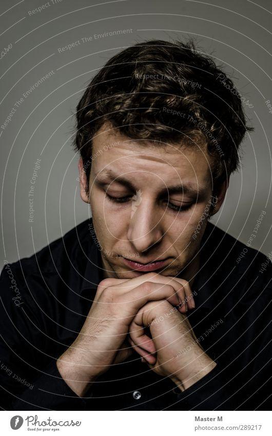 Das war's maskulin Mann Erwachsene Gesicht Hand 1 Mensch 18-30 Jahre Jugendliche Hemd dunkel kalt trist grau Gefühle authentisch Traurigkeit Sorge Trauer Tod