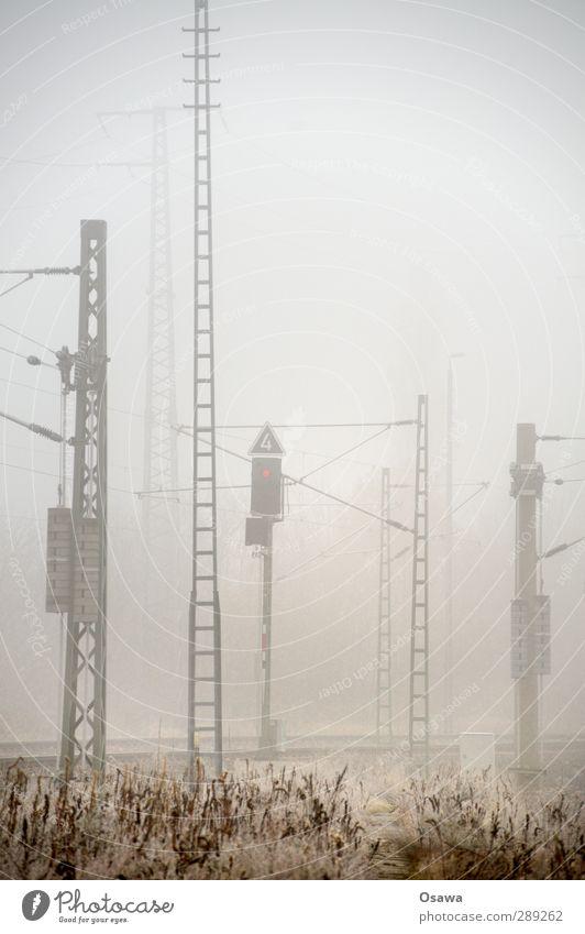 Nebel Stadt dunkel grau Technik & Technologie gruselig Stahl Strommast Raureif Oberleitung Stahlträger Schienenverkehr Stahlkonstruktion