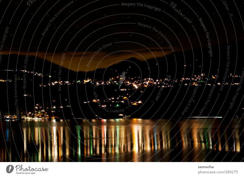spieglein spieglein... Umwelt Landschaft Wasser Himmel Wolken Nachthimmel Stern Hügel Gipfel Küste Seeufer leuchten Blick träumen dunkel fantastisch hell kalt