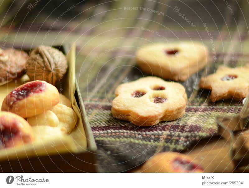 Plätzchenmischung Weihnachten & Advent Lebensmittel Ernährung Kochen & Garen & Backen süß Stern (Symbol) lecker Backwaren kariert Teigwaren Tischwäsche Schachtel Keks Nuss Plätzchen selbstgemacht