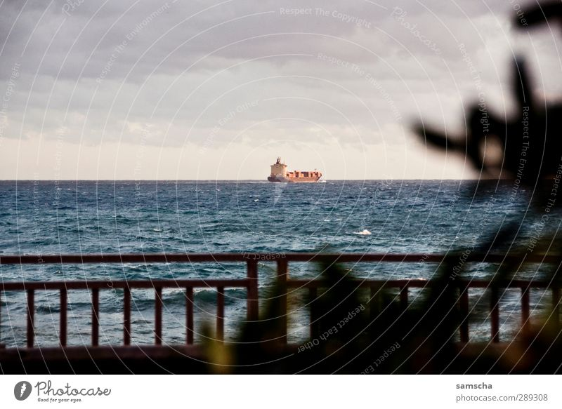 draussen auf See Wirtschaft Industrie Handel Güterverkehr & Logistik Umwelt Natur Wasser Himmel Wolken Horizont Küste Meer Schifffahrt Dampfschiff