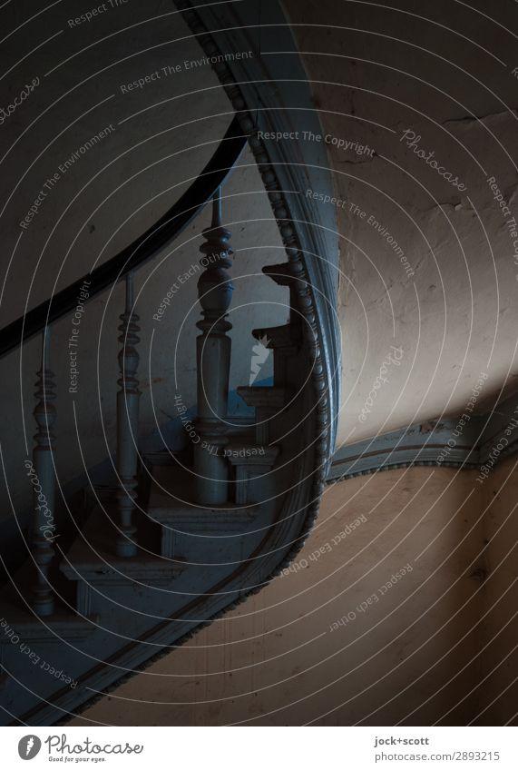 mau & monoton Innenarchitektur Treppenhaus Jugendstil Wand Dekoration & Verzierung Treppengeländer Holz Streifen alt authentisch dunkel elegant historisch retro