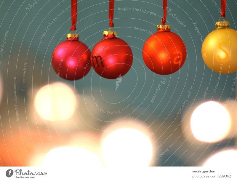 rumkugeln. Wohnung Feste & Feiern Weihnachten & Advent Dekoration & Verzierung Kitsch Krimskrams Kugel glänzend hängen leuchten rund blau gelb rot Vorfreude