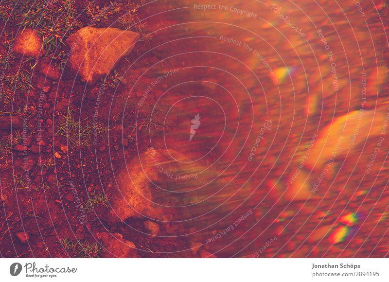 Boden mit Steinen und Prisma verwischt in Rot Ferien & Urlaub & Reisen rot Hintergrundbild Tourismus Freiheit wandern Erde ästhetisch graphisch Schottland