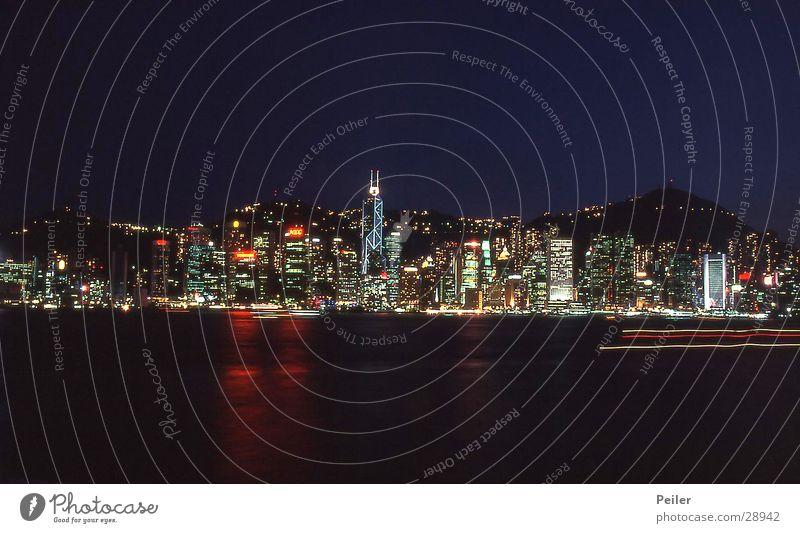 Hongkong Skyline schwarz Architektur Hochhaus