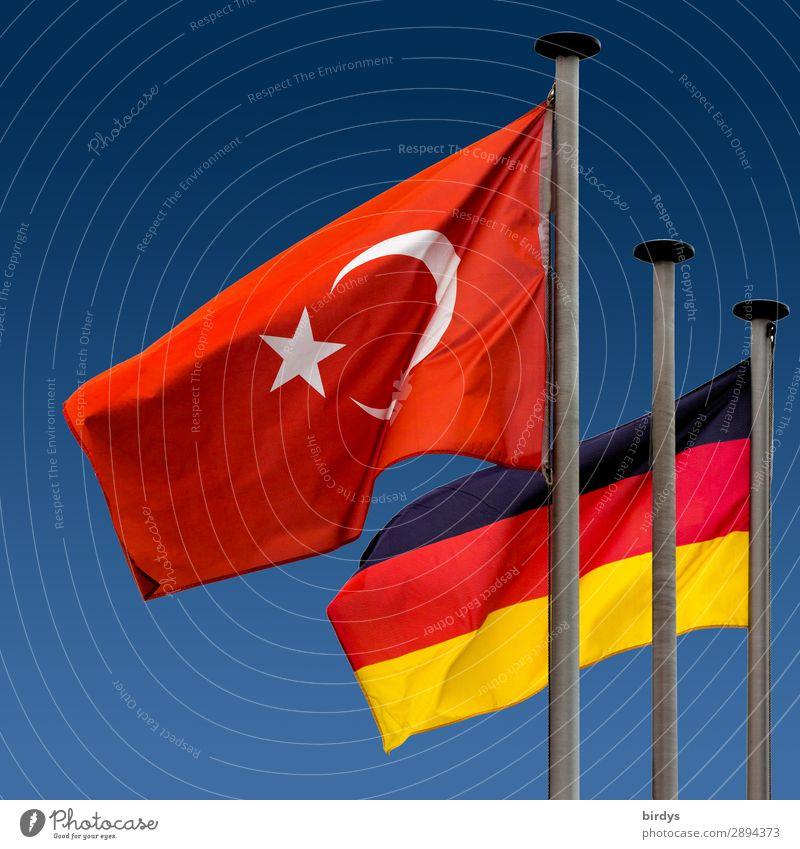 Türkei - Deutschland eine Schicksalsgemeinschaft Zeichen Fahne ästhetisch authentisch Zusammensein einzigartig positiv blau gold rot schwarz weiß Macht