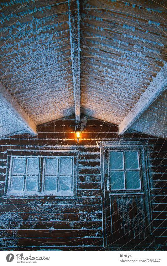 Winter | lasst uns reingehen Stadt Fenster kalt Schnee Eis Tür Klima leuchten Häusliches Leben Wandel & Veränderung Frost Schutz Hütte bizarr Terrasse