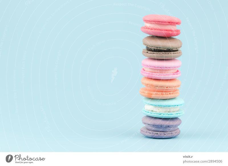 Süßer französischer Makronenkuchen mit klassischem pastellfarbenem Ton. Lebensmittel Kuchen Dessert Süßwaren Essen Kaffee Tee Sommer Liebe frisch lecker retro