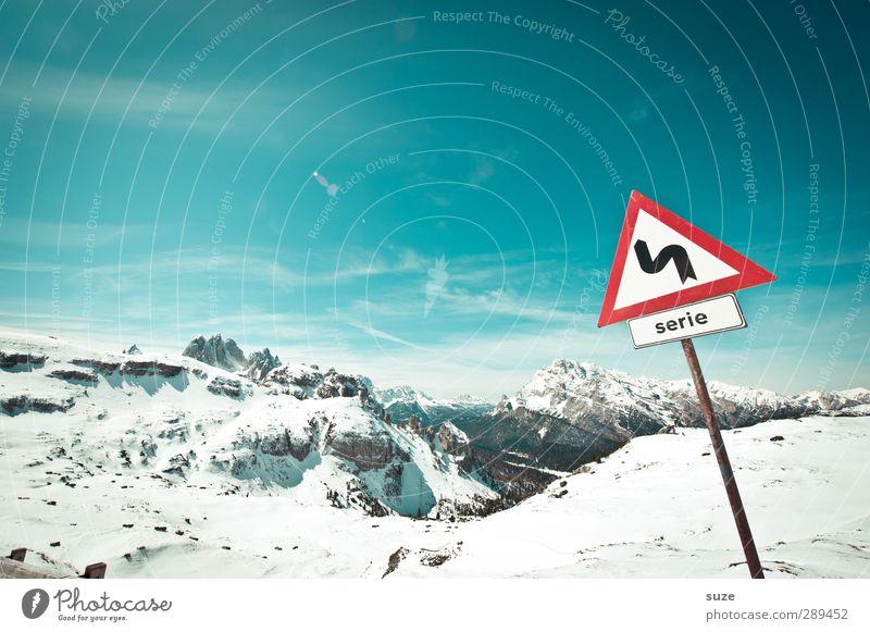 Winter Himmel Natur Landschaft Umwelt Berge u. Gebirge kalt Schnee Luft Horizont Klima authentisch Schilder & Markierungen Schönes Wetter Hinweisschild