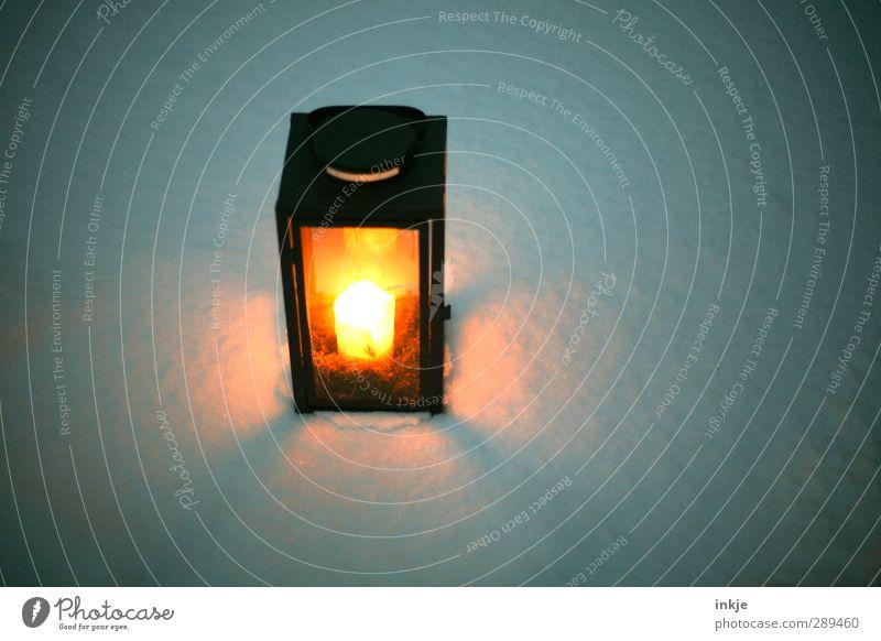 Winter Wetter Schnee Menschenleer Laterne Kerzenschein Kerzenstimmung leuchten dunkel kalt schön orange schwarz weiß Einsamkeit Pause rein ruhig Schneedecke
