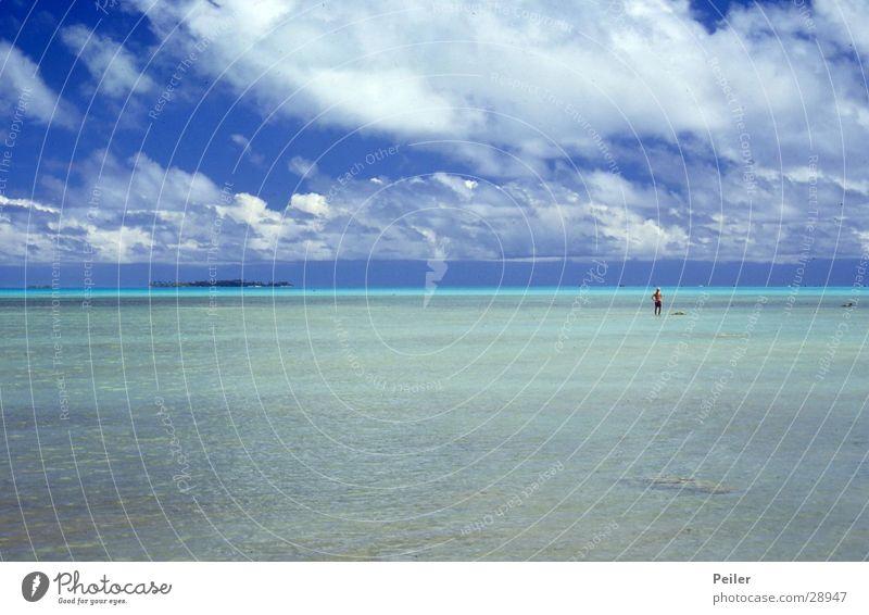 Aitutaki Südpazifik Himmel Wasser blau Meer türkis Atoll