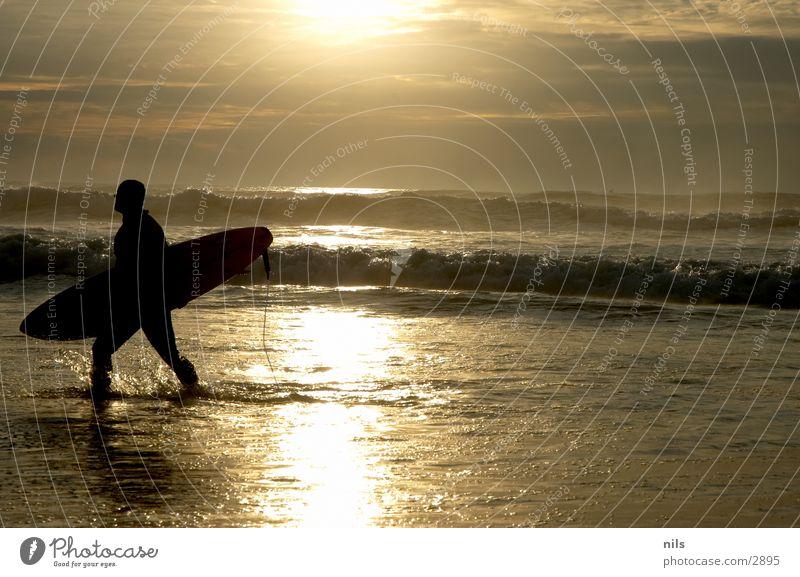 Have A Nice Surf Surfer Meer Sonnenuntergang Wellen Surfbrett Surfen gehen Sport Wasser Leash Silhouette Board spritzen
