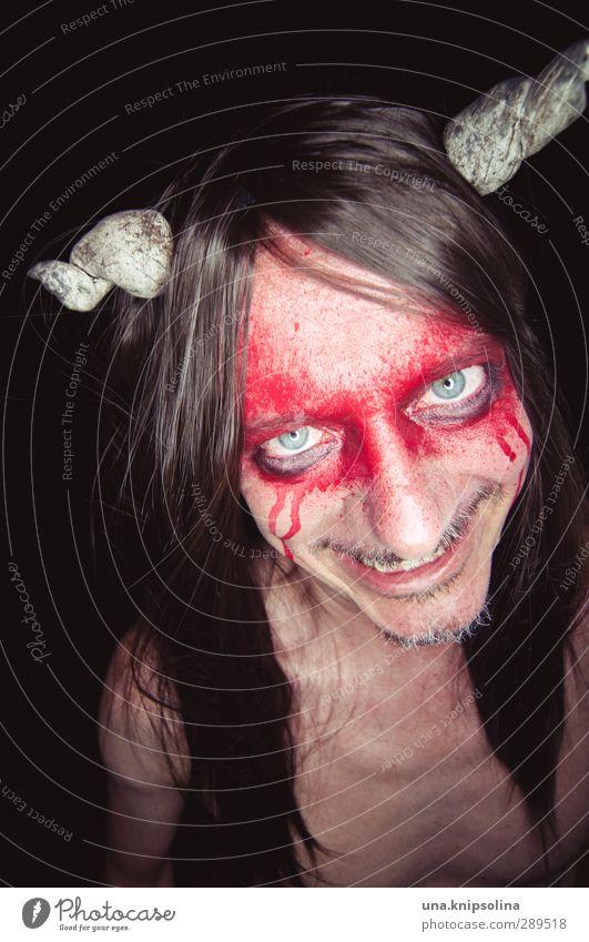 weltuntergang | in der hölle schmoren Mensch Mann rot Erwachsene nackt dunkel Tod lachen Religion & Glaube außergewöhnlich wild Lächeln verrückt beobachten