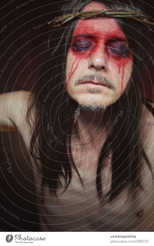 weltuntergang | hoffnung Mensch Mann schön rot ruhig Gesicht Erwachsene Tod Gefühle Haare & Frisuren Religion & Glaube Denken träumen außergewöhnlich Hoffnung Unendlichkeit