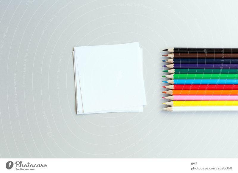 Bunte Stifte und Papier Freizeit & Hobby Kindererziehung Kindergarten Schule Medienbranche Werbebranche Team Kunst Schreibwaren Zettel Schreibstift ästhetisch