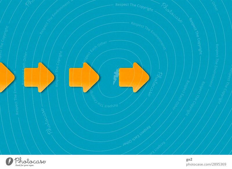 Pfeile nach rechts Papier Zeichen ästhetisch einfach blau gelb orange Beginn Fortschritt Problemlösung Ordnung Teamwork Termin & Datum Wege & Pfade Ziel
