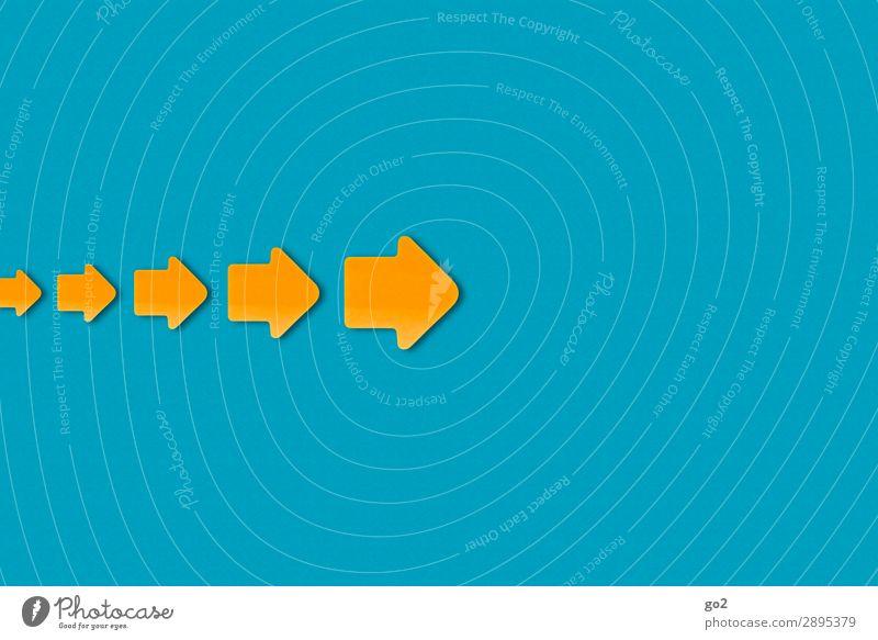 Pfeile nach rechts blau Wege & Pfade Bewegung orange Wachstum Schilder & Markierungen Hinweisschild Zeichen Güterverkehr & Logistik Richtung Mobilität