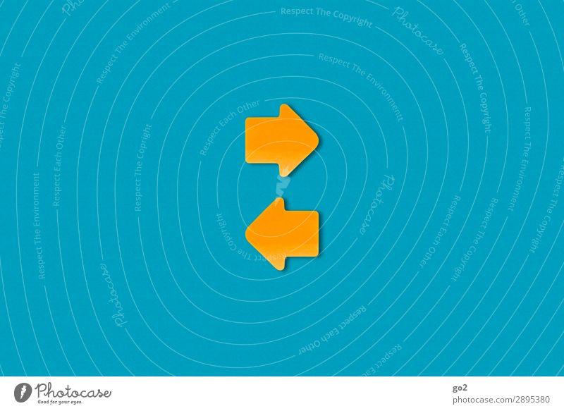 Kommunikation Sitzung sprechen Team Papier Zeichen Schilder & Markierungen Hinweisschild Warnschild Pfeil ästhetisch blau gelb orange Zufriedenheit Beratung