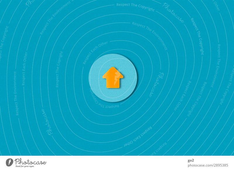 Up blau Wege & Pfade orange Zufriedenheit Kommunizieren ästhetisch Schilder & Markierungen Erfolg Perspektive Beginn Papier Hinweisschild Kreis einfach