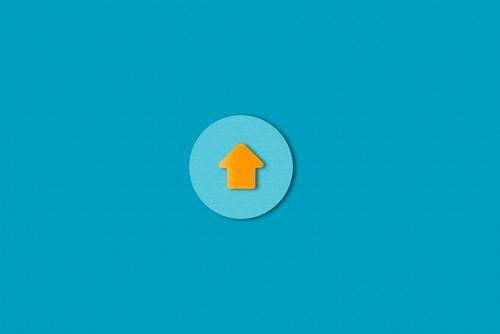 Up Papier Zeichen Schilder & Markierungen Hinweisschild Warnschild Pfeil Kreis ästhetisch einfach blau orange Beginn Zufriedenheit Erfolg Fortschritt