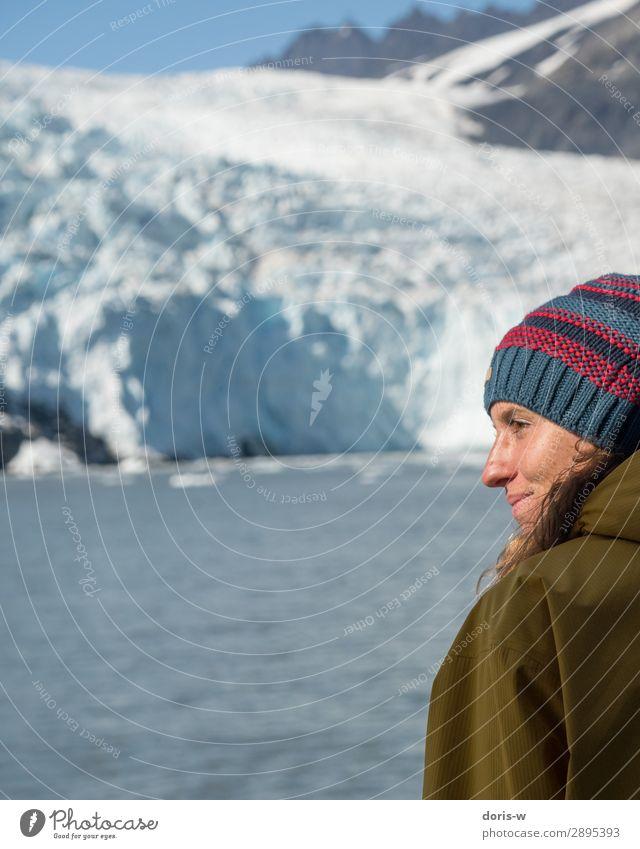 Abenteurerin aus Leidenschaft feminin Junge Frau Jugendliche Gesicht 1 Mensch 18-30 Jahre Erwachsene Umwelt Natur Landschaft Urelemente Wasser Winter Klima