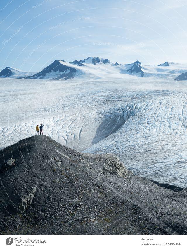 Gletscherfeld ruhig Ausflug Abenteuer Ferne Freiheit Expedition Winter Schnee Winterurlaub Berge u. Gebirge wandern Paar 2 Mensch Umwelt Natur Landschaft