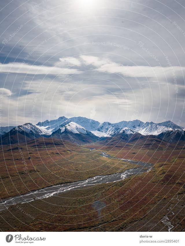 Wie ein Kunstwerk Natur Landschaft Pflanze Urelemente Wolken Horizont Herbst Klima Klimawandel Schönes Wetter Felsen Berge u. Gebirge Gipfel