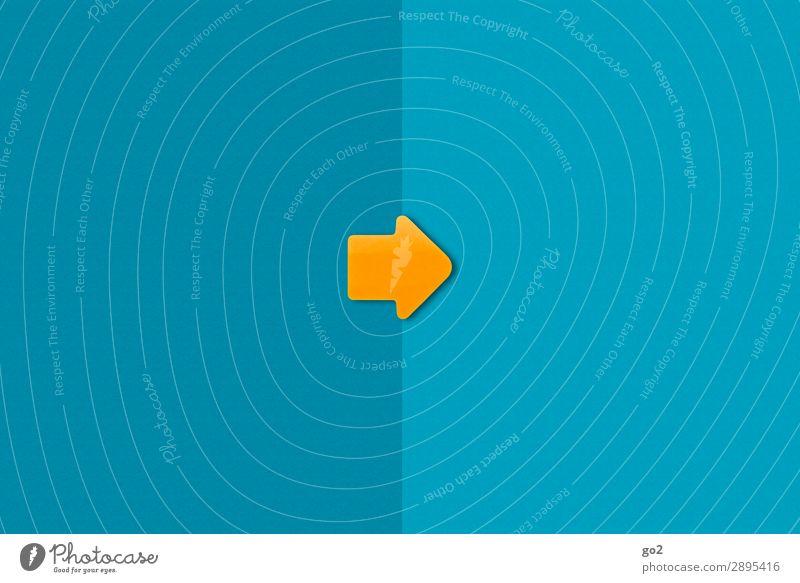 Pfeil nach rechts Güterverkehr & Logistik Erfolg sprechen Papier Zeichen Schilder & Markierungen Hinweisschild Warnschild ästhetisch einfach blau orange Beginn