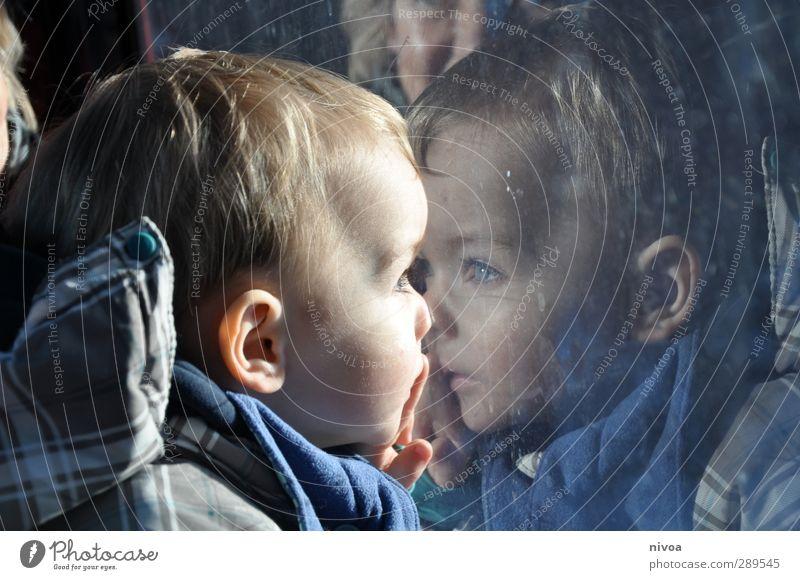 Kleinkind spiegelt sich im Fenster Mensch maskulin Kind Junge Kopf Haare & Frisuren Auge Ohr Nase 1 1-3 Jahre Umwelt Landschaft Sonne Sonnenlicht Winter