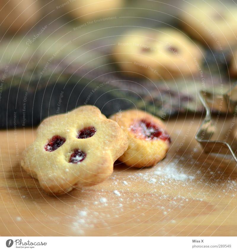 Linzer Plätzchen Weihnachten & Advent Lebensmittel Ernährung süß lecker Backwaren Teigwaren Plätzchen Marmelade Weihnachtsgebäck Kaffeetrinken Puderzucker Backform