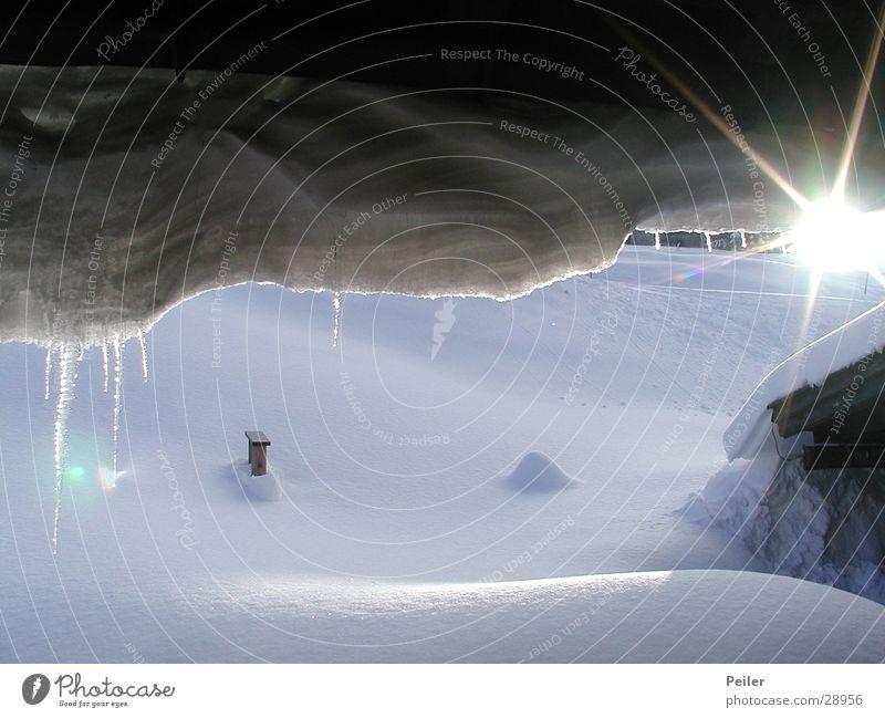 Morgen am Winklmoos Winter Eiszapfen Sonnenstrahlen weiß Berge u. Gebirge Schnee