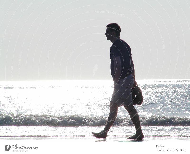 Pavel on the beach... Mann Wasser weiß Meer schwarz Erholung grau Spaziergang gehen