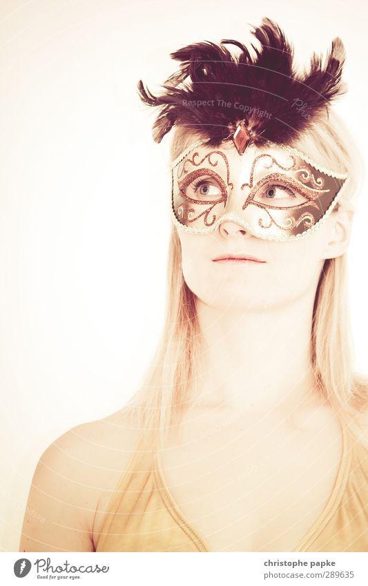 Masquerade Nachtleben Veranstaltung Karneval feminin Junge Frau Jugendliche 1 Mensch 18-30 Jahre Erwachsene 30-45 Jahre blond Erotik Tabubruch anonym Maske