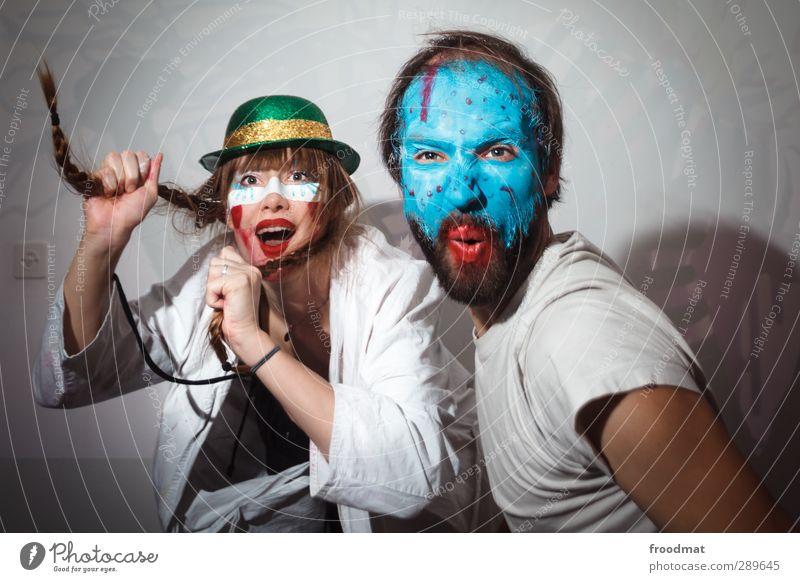 1400 - and a happy new year Mensch Frau Mann blau Farbe Freude Erwachsene feminin lachen Glück Party Tanzen maskulin Fröhlichkeit verrückt Lebensfreude