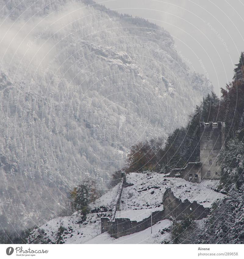 vergangen... Landschaft Urelemente Luft Wolken Winter schlechtes Wetter Nebel Schnee Wald Felsen Alpen Berge u. Gebirge Menschenleer Burg oder Schloss Ruine