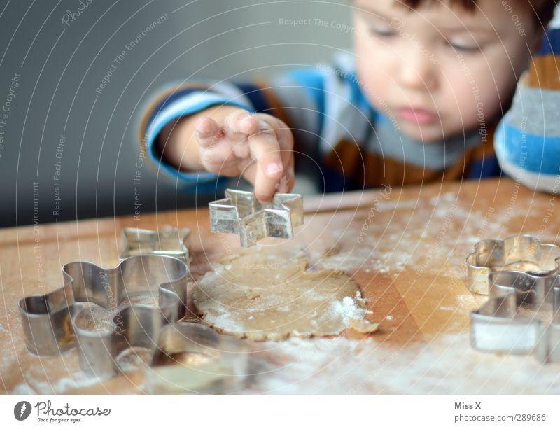 Plätzchen backen Mensch Kind Lebensmittel Kindheit Ernährung Kochen & Garen & Backen niedlich süß Stern (Symbol) lecker Kleinkind Backwaren Teigwaren roh Plätzchen Weihnachtsgebäck