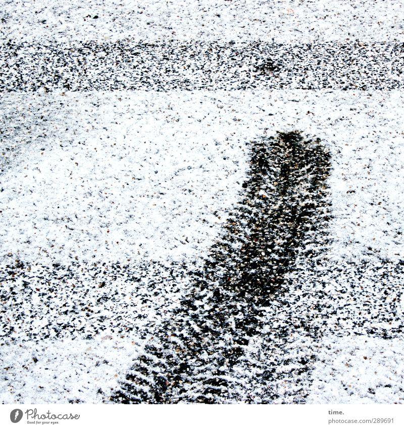Jahresendstress Stadt weiß Winter schwarz Schnee Wege & Pfade Stein Linie Schilder & Markierungen Ordnung Verkehr frisch fahren Spuren Todesangst rennen