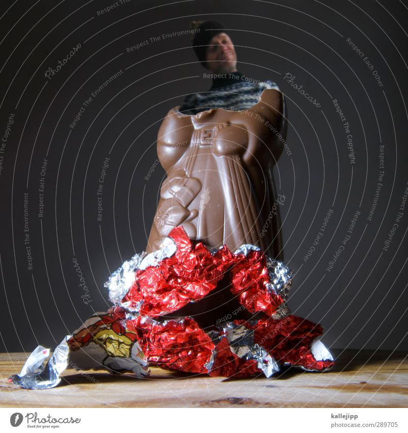 aussen hart und innen weich Mensch Mann Weihnachten & Advent Erwachsene Kopf Feste & Feiern Körper Lebensmittel maskulin Lächeln Ernährung Weihnachtsmann Süßwaren Schokolade Dessert 30-45 Jahre
