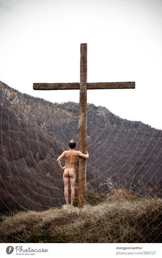 """""""hommage"""" Mensch Natur Jugendliche nackt Baum ruhig 18-30 Jahre Erwachsene Berge u. Gebirge natürlich Beine braun maskulin Körper wandern Rücken"""