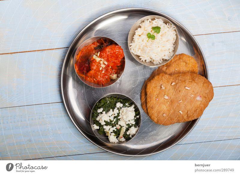 delhi delight Lebensmittel Fleisch Käse Suppe Eintopf Asiatische Küche Teller Schalen & Schüsseln Billig gut rein Foodfotografie Indien thali Reis Brot hühnchen