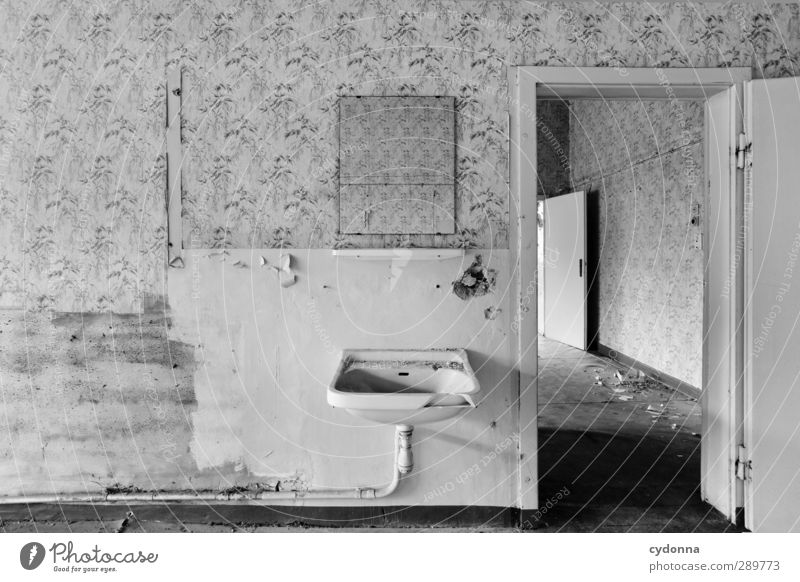 Morgentoilette Häusliches Leben Renovieren Umzug (Wohnungswechsel) Spiegel Tapete Raum Haus Mauer Wand Tür ästhetisch Beratung Einsamkeit Ende entdecken