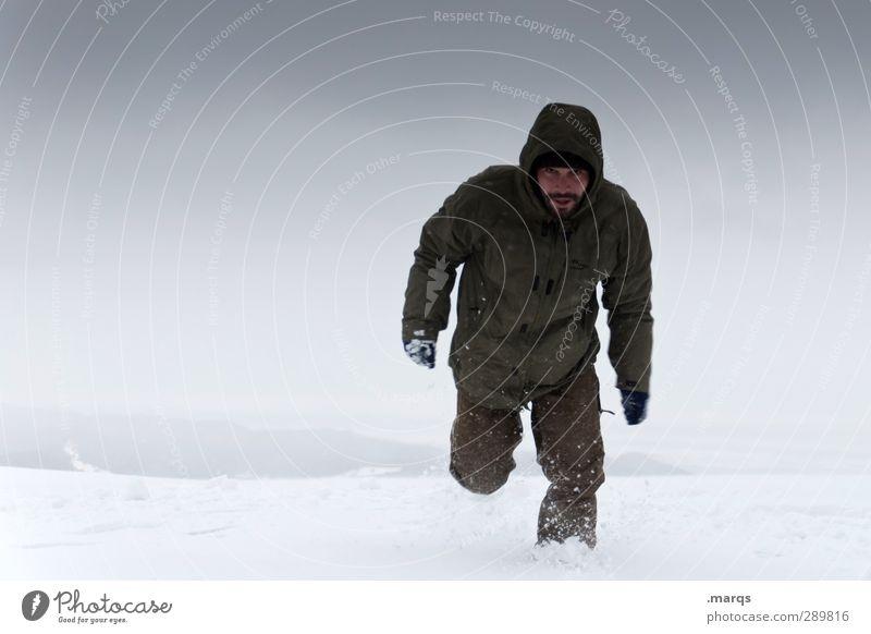 Tiefschnee Ausflug Winter Schnee Winterurlaub Mensch maskulin Erwachsene 1 Umwelt Natur Klima schlechtes Wetter Eis Frost gehen laufen kalt Mut Einsamkeit