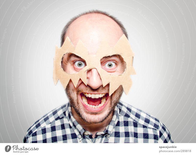 Der Mann mit der Maske Mensch Mann Jugendliche blau schwarz Erwachsene Junger Mann lustig braun maskulin verrückt beobachten Brille Bart Maske skurril
