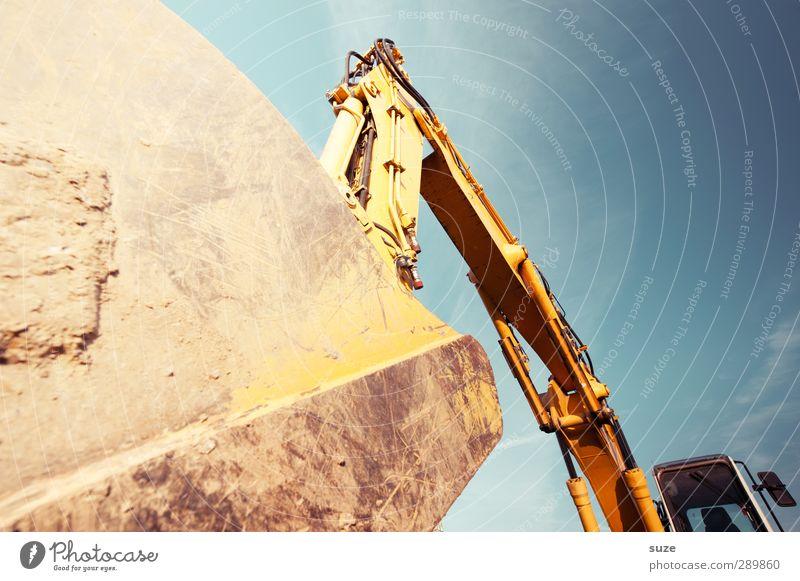 Baggerschaufel Himmel blau gelb Umwelt Metall Arbeit & Erwerbstätigkeit groß Schönes Wetter Baustelle Industrie Dienstleistungsgewerbe Arbeitsplatz Bagger gigantisch Kettenfahrzeug Mittelstand