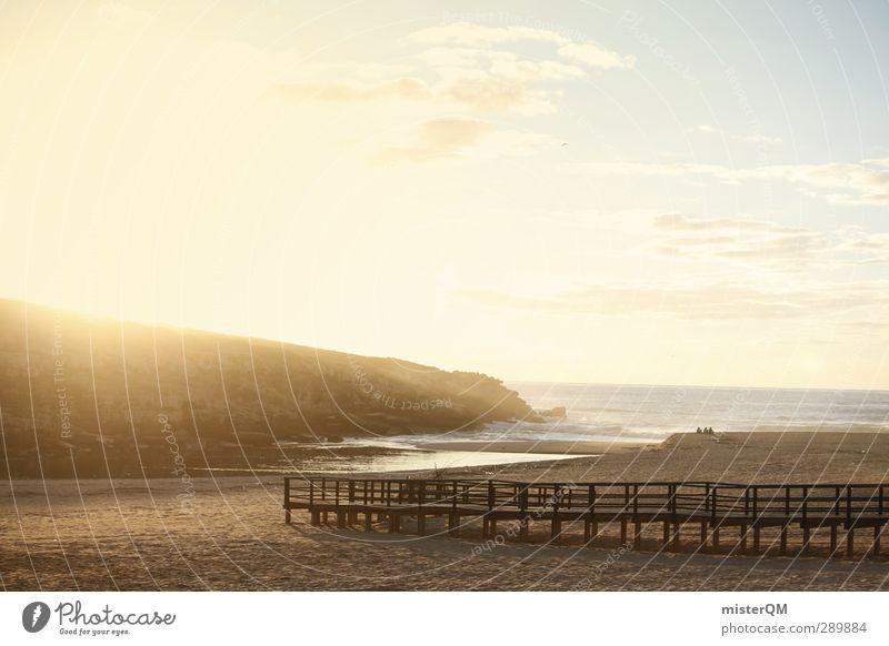 Unreal Times. Himmel Ferien & Urlaub & Reisen Meer Strand Wolken ruhig Erholung Felsen Kunst Idylle ästhetisch Bucht Steg Paradies Anlegestelle abgelegen