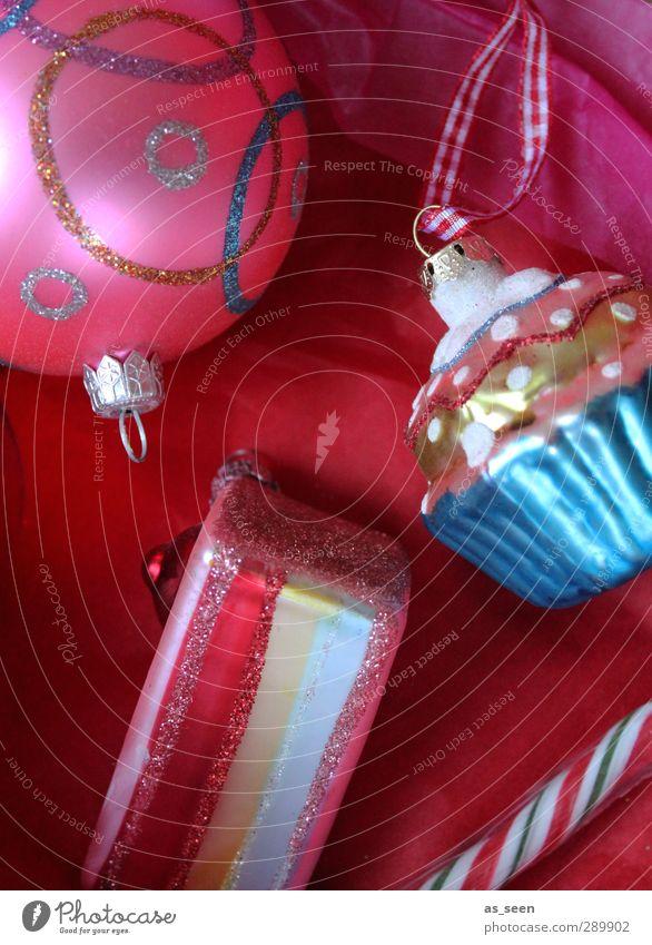Süße Bescherung Weihnachten & Advent Farbe weiß rot Freude Essen Feste & Feiern Linie Metall rosa glänzend Häusliches Leben Dekoration & Verzierung Glas